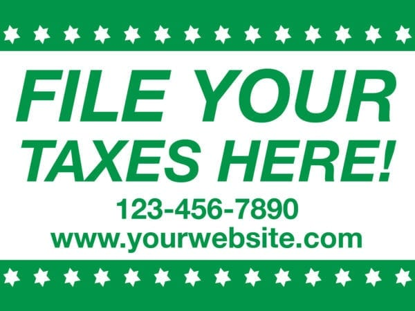 tax lawn sign template 12 green