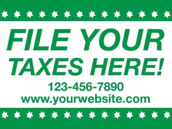 tax lawn sign template 12 green