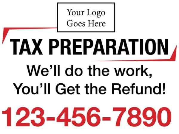 tax lawn sign template 06 red