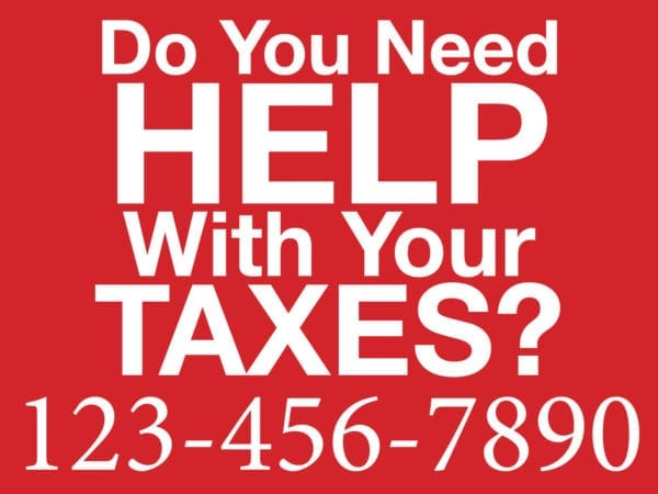 tax lawn sign template 07 red