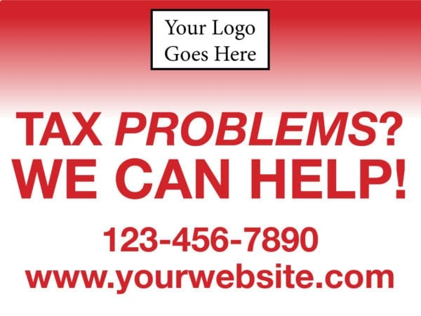 tax lawn sign template 11 red