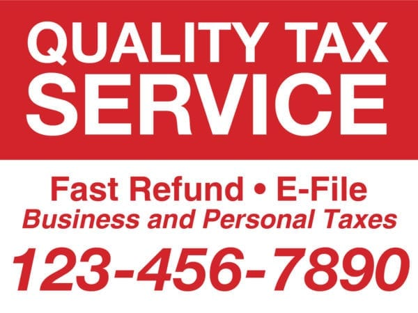 tax lawn sign template 13 red