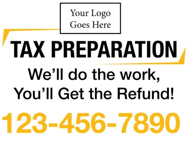 tax lawn sign template 06 yellow