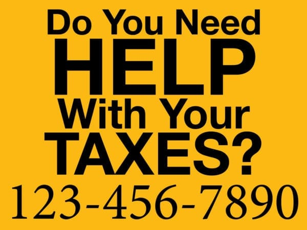 tax lawn sign template 07 yellow