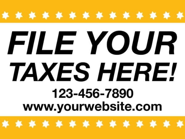 tax lawn sign template 12 yellow