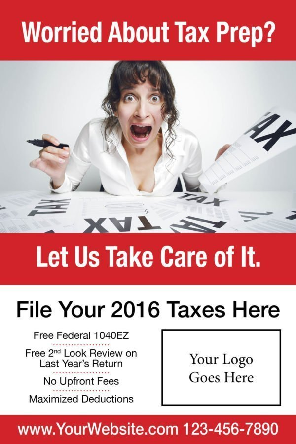 tax poster template 06 red