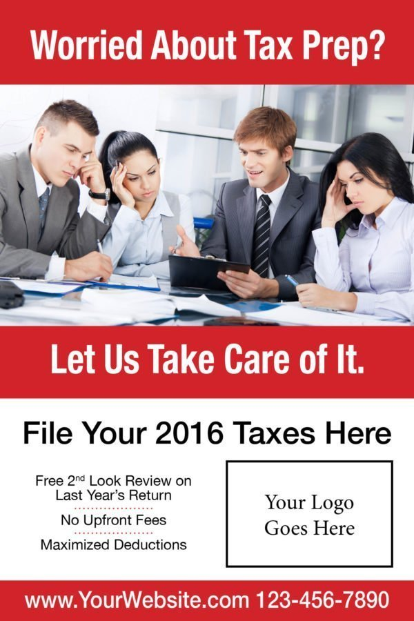 tax poster template 07 red