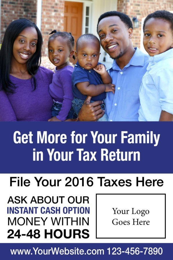 tax poster template 01 blue
