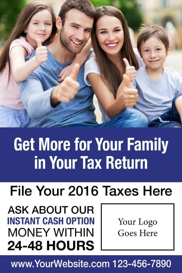 tax poster template 02 blue