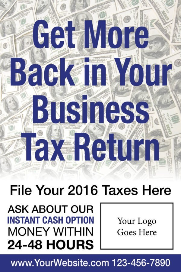 tax poster template 04 blue