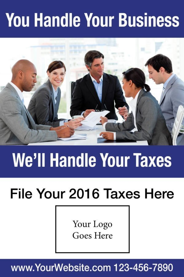 tax poster template 05 blue