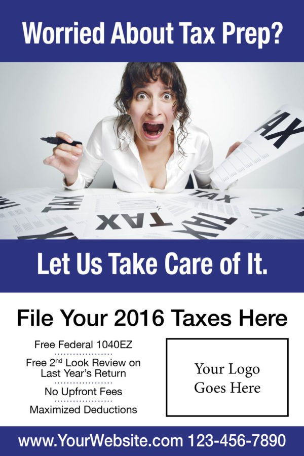 tax poster template 06 blue