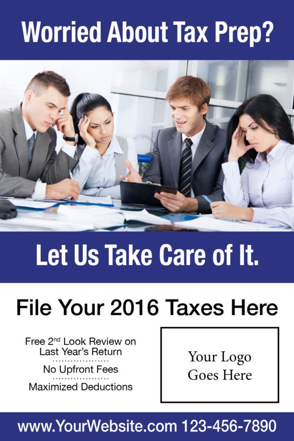 tax poster template 07 blue